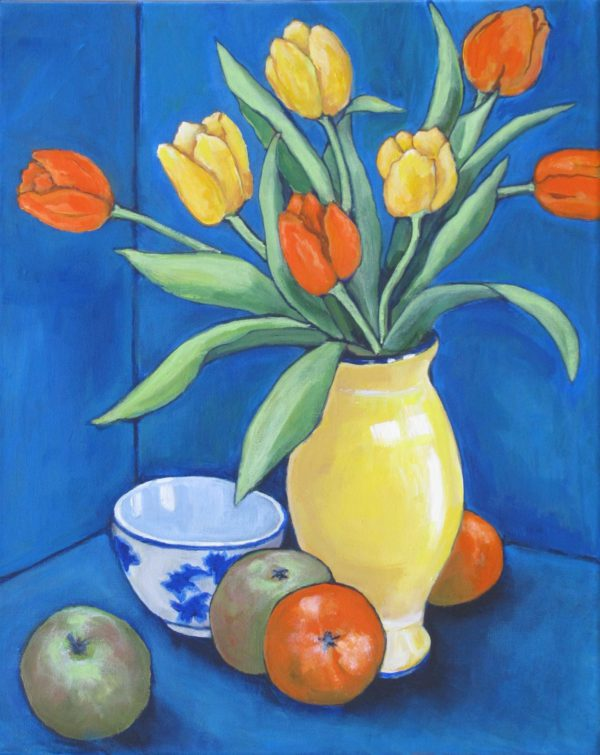 Blue Still Life with Tulips