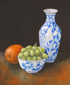 Blue and White Pots with Orange and Grapes