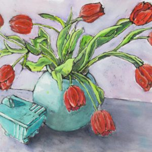 Red Tulips and Deco Vase
