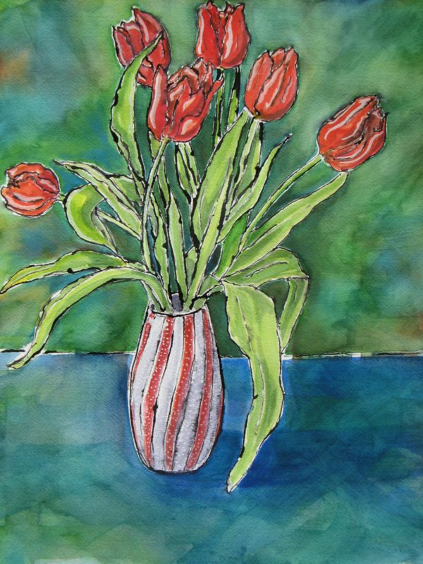 Red Tulips with green background