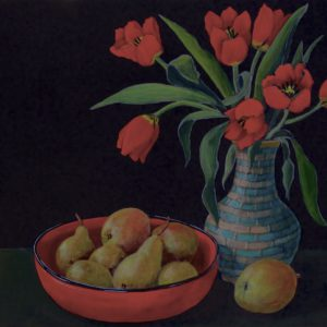 Red Tulips with Red Bowl