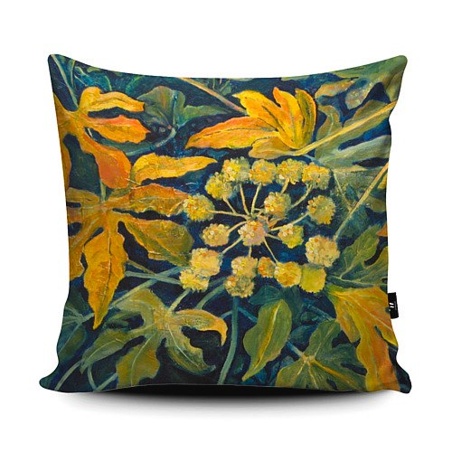This image has an empty alt attribute; its file name is Square-Gold-Fatsia-Japonica-Cushion.jpg