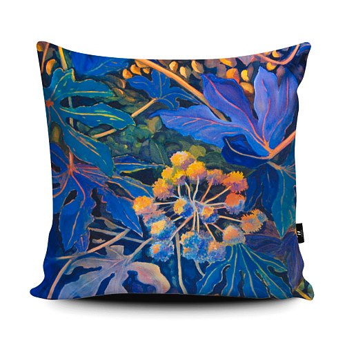 This image has an empty alt attribute; its file name is Square-Purple-Fatsia-Japonica-Cushion.jpg