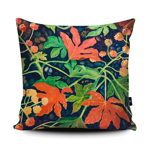 This image has an empty alt attribute; its file name is Square-Red-Fatsia-Japonica-Cushion.jpg