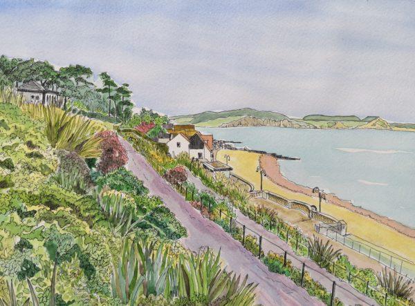 Across to Golden Cap from the Gardens, Lyme Regis